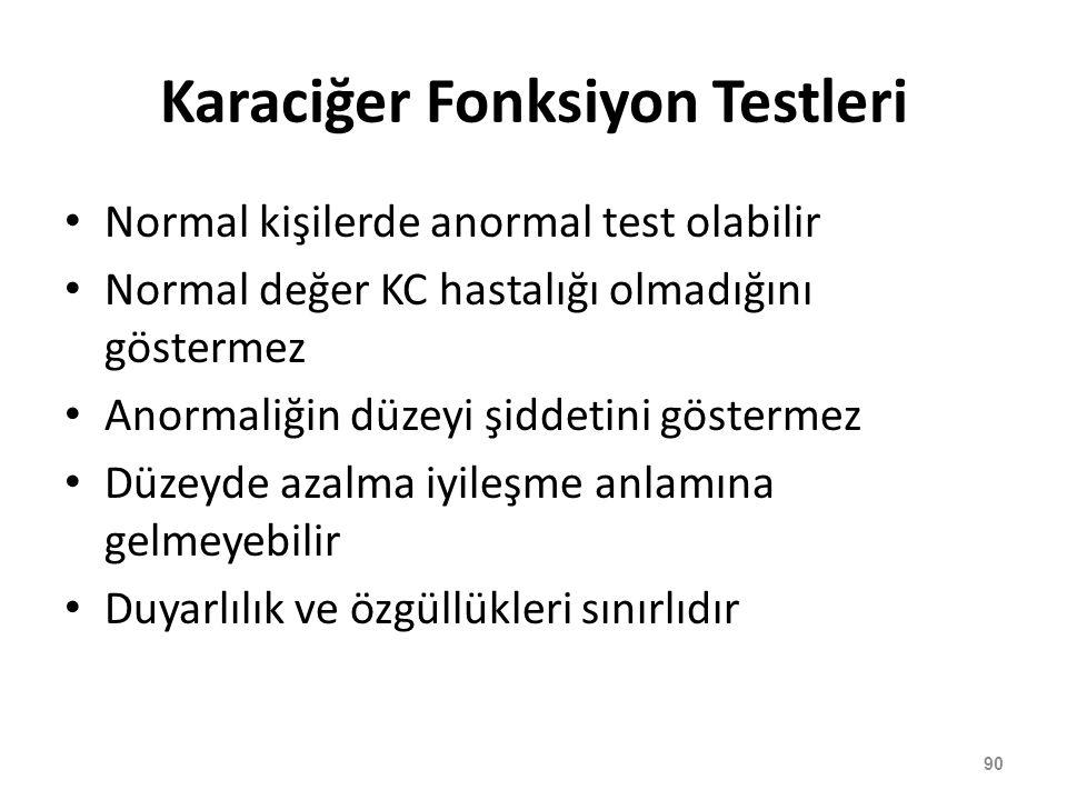 Karaciğer Fonksiyon Testleri Normal kişilerde anormal test olabilir Normal değer KC hastalığı olmadığını göstermez Anormaliğin düzeyi şiddetini göster