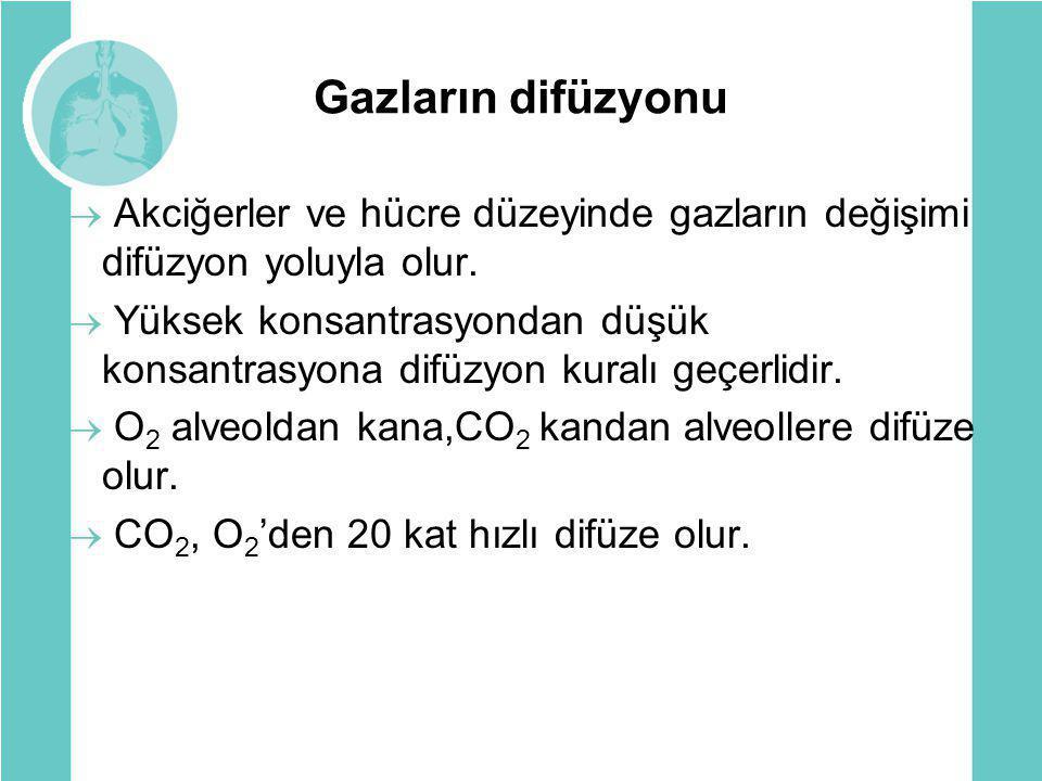 Gazların difüzyonu  Akciğerler ve hücre düzeyinde gazların değişimi difüzyon yoluyla olur.  Yüksek konsantrasyondan düşük konsantrasyona difüzyon ku