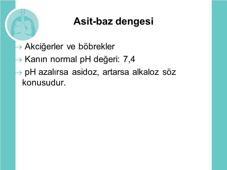 Asit-baz dengesi  Akciğerler ve böbrekler  Kanın normal pH değeri: 7,4  pH azalırsa asidoz, artarsa alkaloz söz konusudur.