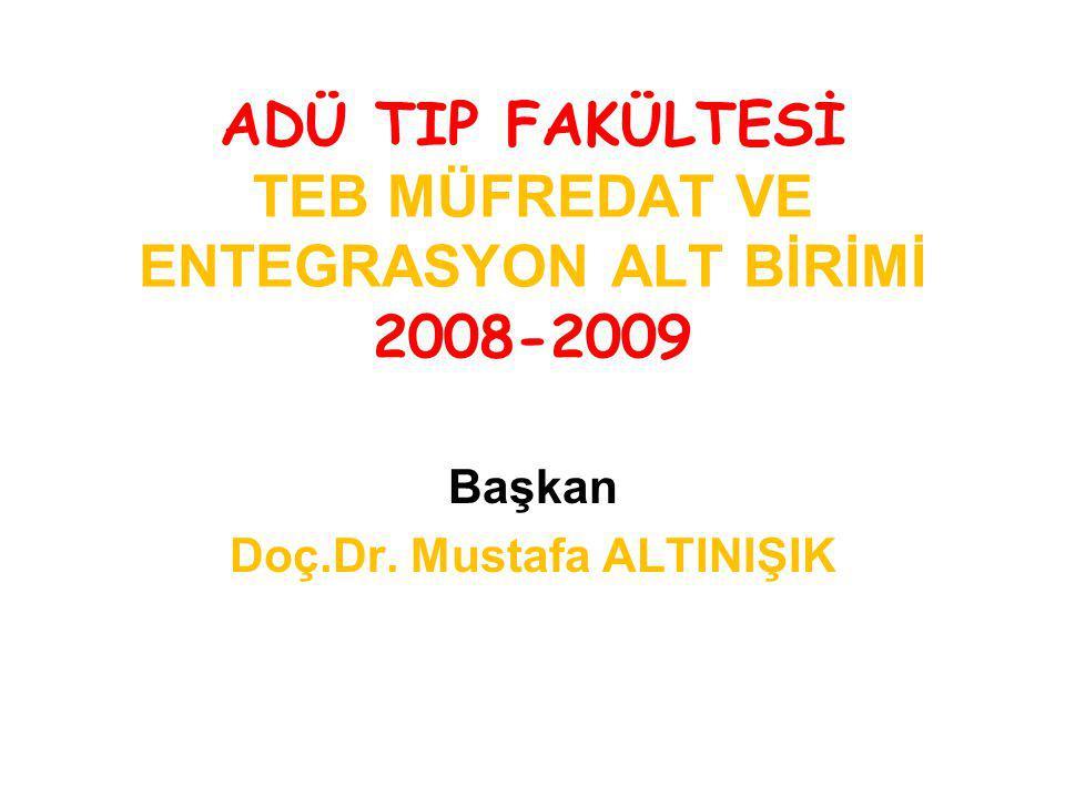 ADÜ TIP FAKÜLTESİ TEB MÜFREDAT VE ENTEGRASYON ALT BİRİMİ 2008-2009 Başkan Doç.Dr. Mustafa ALTINIŞIK