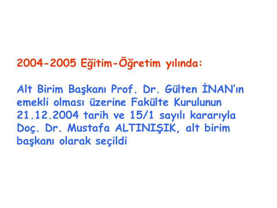 2004-2005 Eğitim-Öğretim yılında: Alt Birim Başkanı Prof.