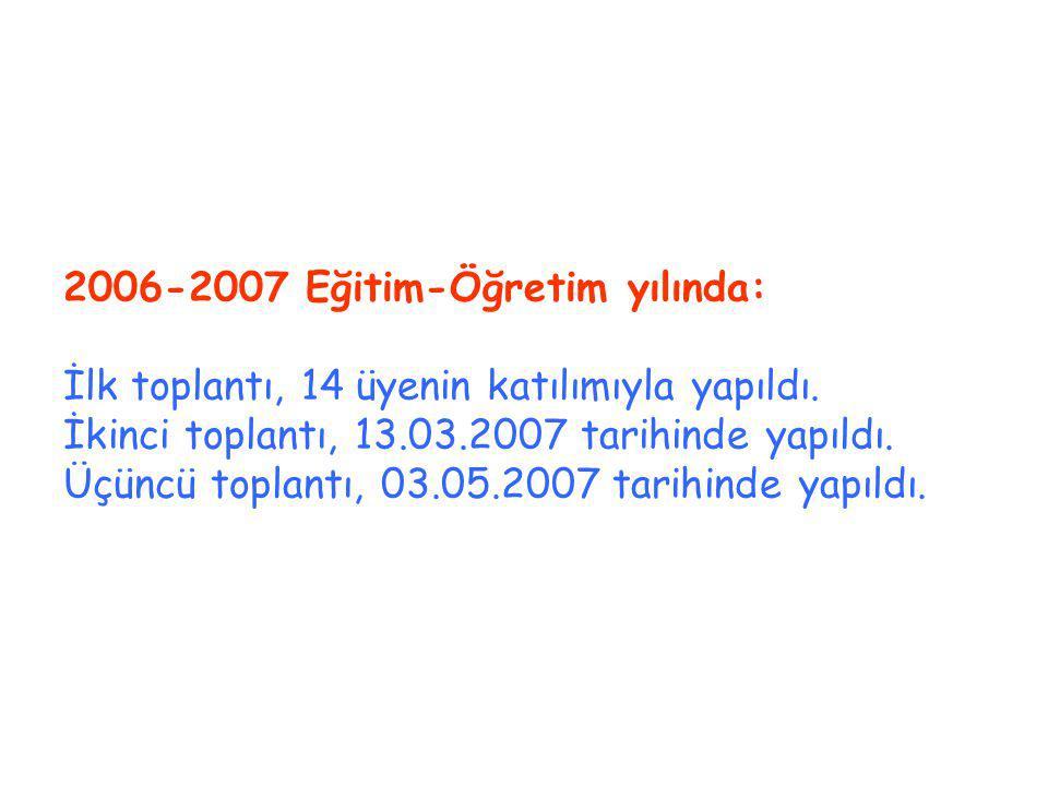 2006-2007 Eğitim-Öğretim yılında: İlk toplantı, 14 üyenin katılımıyla yapıldı.