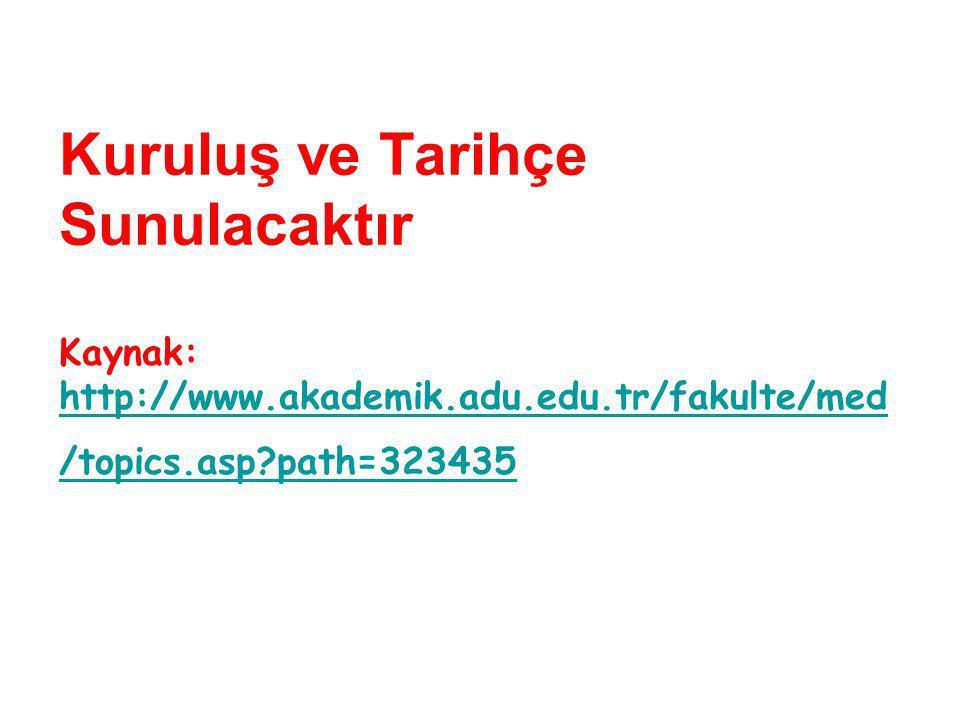 Kuruluş ve Tarihçe Sunulacaktır Kaynak: http://www.akademik.adu.edu.tr/fakulte/med /topics.asp path=323435 http://www.akademik.adu.edu.tr/fakulte/med /topics.asp path=323435
