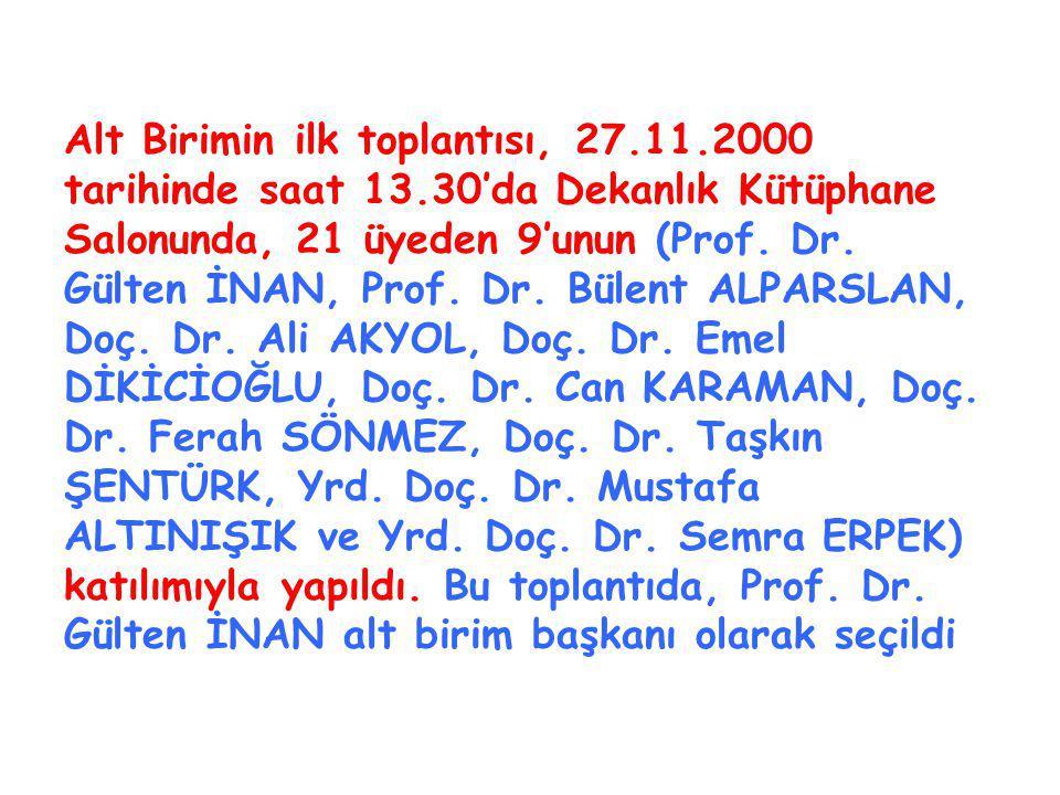 Alt Birimin ilk toplantısı, 27.11.2000 tarihinde saat 13.30'da Dekanlık Kütüphane Salonunda, 21 üyeden 9'unun (Prof.