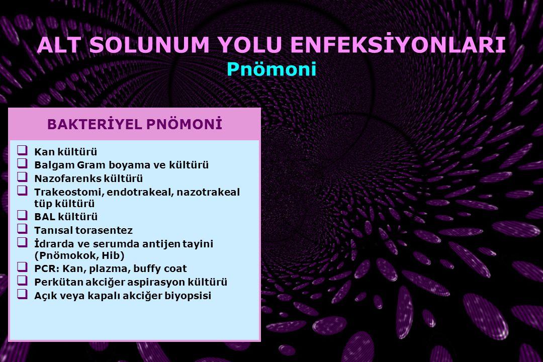 Chlamydia pneumoniae Chlamydia trachomatis Mandell's Principles and Practices of Infectious Diseases, 2005 ALT SOLUNUM YOLU ENFEKSİYONLARI Pnömoni