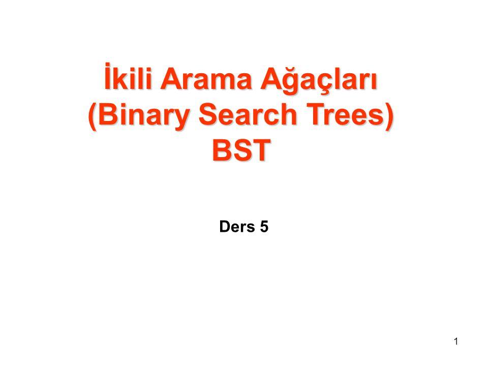 İkili arama ağacı özelliği x ikili arama ağacında herhangi bir düğüm olsun.