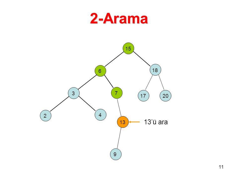 2-Arama 15 6 18 3 2 4 7 17 13 20 9 13'ü ara 11