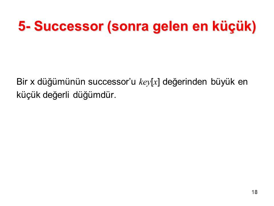 5- Successor (sonra gelen en küçük) Bir x düğümünün successor'u key [ x ] değerinden büyük en küçük değerli düğümdür. 18