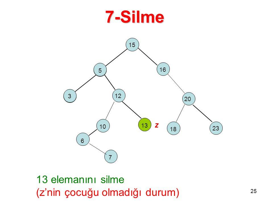 7-Silme 15 5 16 2 18 12 23 20 13 elemanını silme (z'nin çocuğu olmadığı durum) 10 13 z 5 3 6 7 25