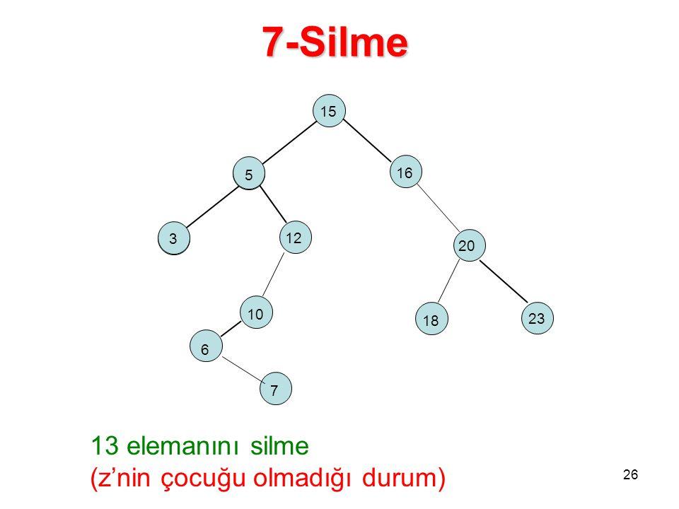 7-Silme 15 5 16 2 18 12 23 20 10 5 3 26 6 7 13 elemanını silme (z'nin çocuğu olmadığı durum)