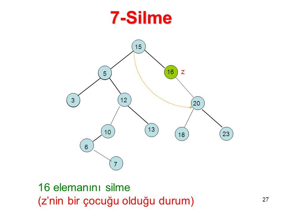 15 5 16 z 2 18 12 23 20 10 13 5 3 27 6 7 16 elemanını silme (z'nin bir çocuğu olduğu durum) 7-Silme