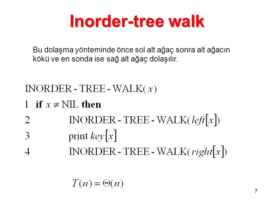 Inorder-tree walk 7 Bu dolaşma yönteminde önce sol alt ağaç sonra alt ağacın kökü ve en sonda ise sağ alt ağaç dolaşılır.