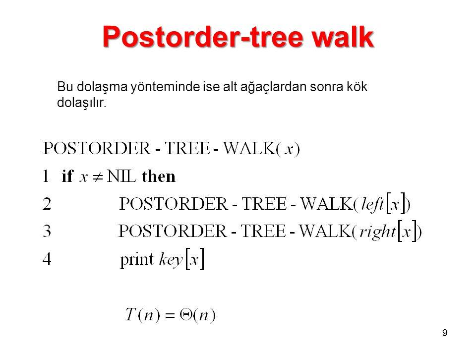 Postorder-tree walk Bu dolaşma yönteminde ise alt ağaçlardan sonra kök dolaşılır. 9