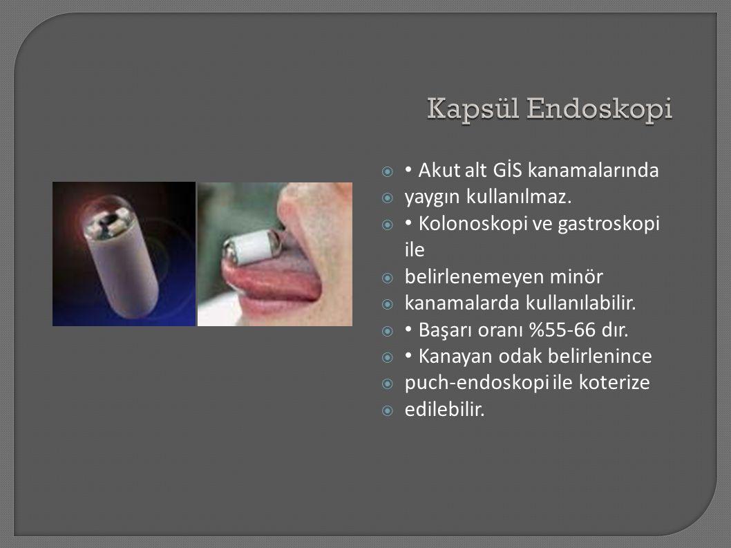  Akut alt GİS kanamalarında  yaygın kullanılmaz.  Kolonoskopi ve gastroskopi ile  belirlenemeyen minör  kanamalarda kullanılabilir.  Başarı oran