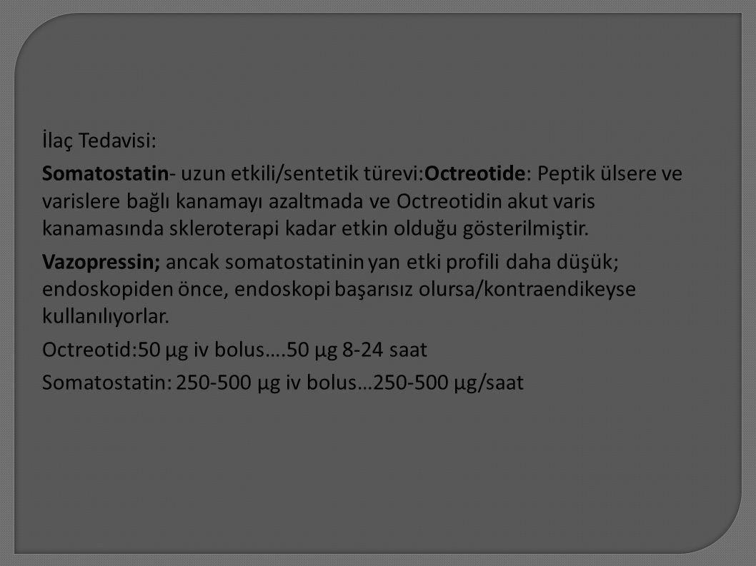 İlaç Tedavisi: Somatostatin- uzun etkili/sentetik türevi:Octreotide: Peptik ülsere ve varislere bağlı kanamayı azaltmada ve Octreotidin akut varis kanamasında skleroterapi kadar etkin olduğu gösterilmiştir.