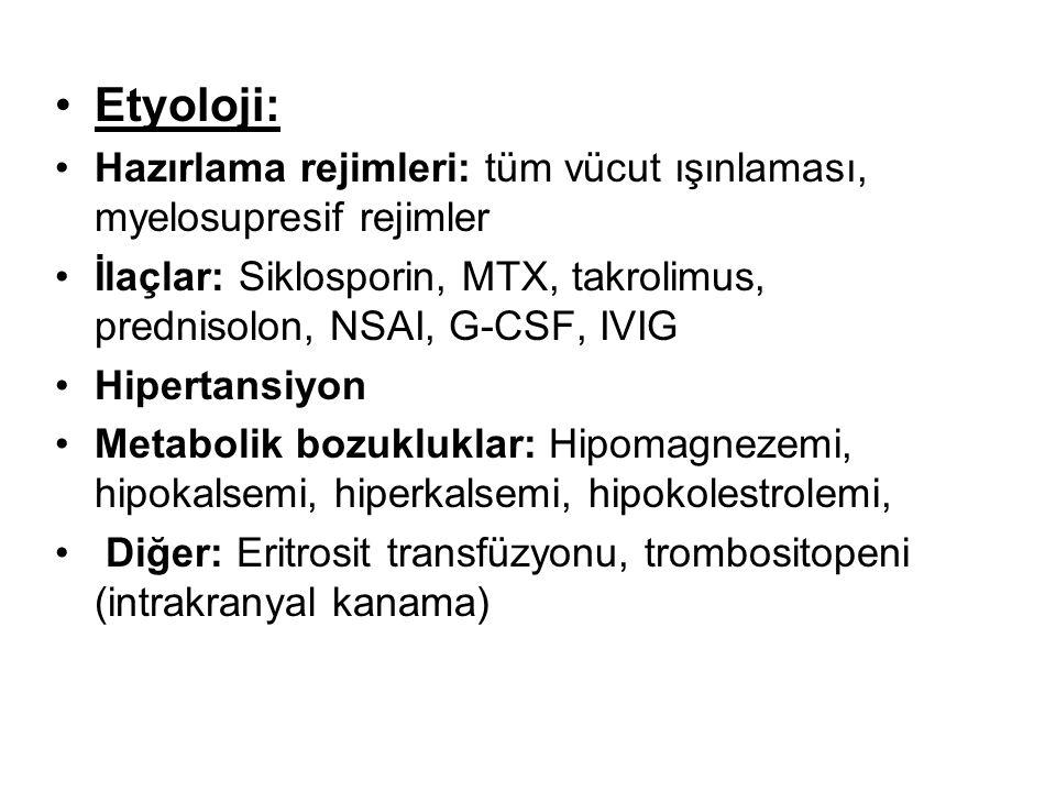 Etyoloji: Hazırlama rejimleri: tüm vücut ışınlaması, myelosupresif rejimler İlaçlar: Siklosporin, MTX, takrolimus, prednisolon, NSAI, G-CSF, IVIG Hipertansiyon Metabolik bozukluklar: Hipomagnezemi, hipokalsemi, hiperkalsemi, hipokolestrolemi, Diğer: Eritrosit transfüzyonu, trombositopeni (intrakranyal kanama)