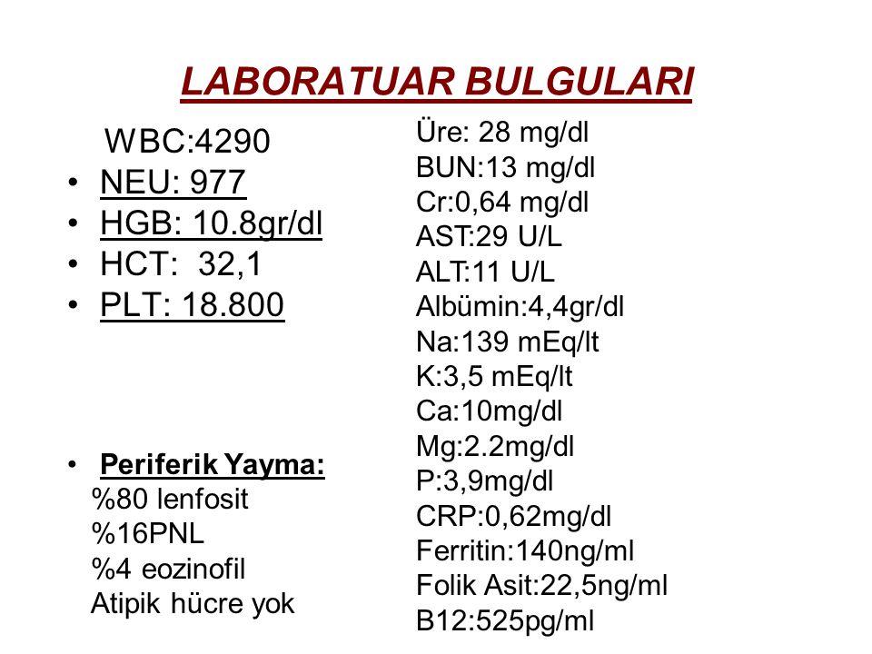 LABORATUAR BULGULARI WBC:4290 NEU: 977 HGB: 10.8gr/dl HCT: 32,1 PLT: 18.800 Periferik Yayma: %80 lenfosit %16PNL %4 eozinofil Atipik hücre yok Üre: 28