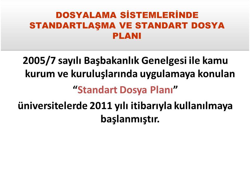 DOSYALAMA SİSTEMLERİNDE STANDARTLAŞMA VE STANDART DOSYA PLANI 2005/7 sayılı Başbakanlık Genelgesi ile kamu kurum ve kuruluşlarında uygulamaya konulan