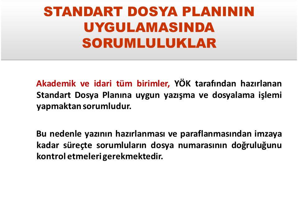 STANDART DOSYA PLANI-I Standart dosya planı, belgelerin KONULARINA göre sınıflandırılmasını amaçlayan desimal dosyalama sistemidir.
