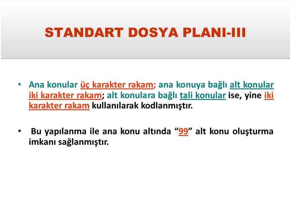 STANDART DOSYA PLANI-III Ana konular üç karakter rakam; ana konuya bağlı alt konular iki karakter rakam; alt konulara bağlı tali konular ise, yine iki
