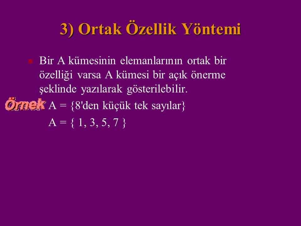 2)Venn Şeması Kümenin elemanlarının kapalı bir eğri ile sınırlı düzlem parçasının içinde noktalar ile gösterilmesidir. A = {a, e, i, o, u} a e i o u A