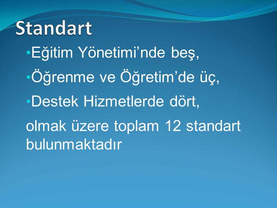 Eğitim Yönetimi'nde beş, Öğrenme ve Öğretim'de üç, Destek Hizmetlerde dört, olmak üzere toplam 12 standart bulunmaktadır