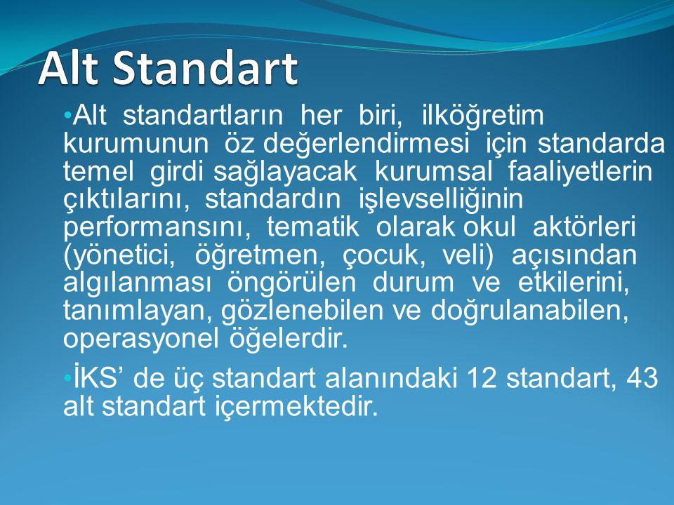 Alt standartların her biri, ilköğretim kurumunun öz değerlendirmesi için standarda temel girdi sağlayacak kurumsal faaliyetlerin çıktılarını, standardın işlevselliğinin performansını, tematik olarak okul aktörleri (yönetici, öğretmen, çocuk, veli) açısından algılanması öngörülen durum ve etkilerini, tanımlayan, gözlenebilen ve doğrulanabilen, operasyonel öğelerdir.