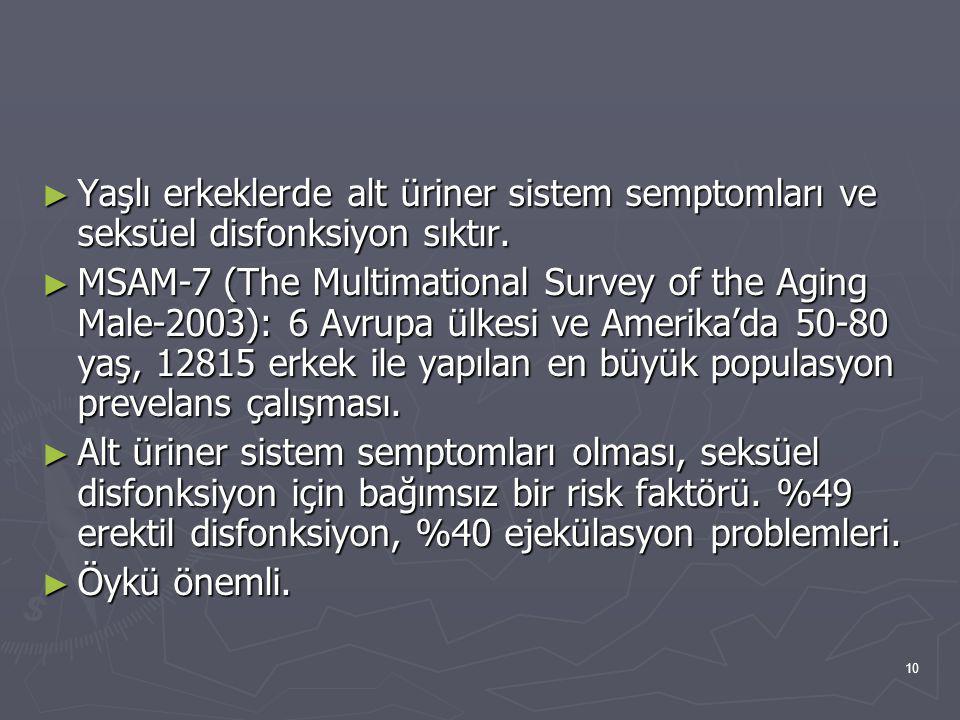 10 ► Yaşlı erkeklerde alt üriner sistem semptomları ve seksüel disfonksiyon sıktır. ► MSAM-7 (The Multimational Survey of the Aging Male-2003): 6 Avru