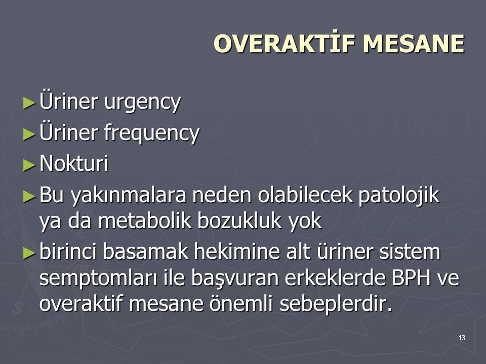 13 OVERAKTİF MESANE ► Üriner urgency ► Üriner frequency ► Nokturi ► Bu yakınmalara neden olabilecek patolojik ya da metabolik bozukluk yok ► birinci b