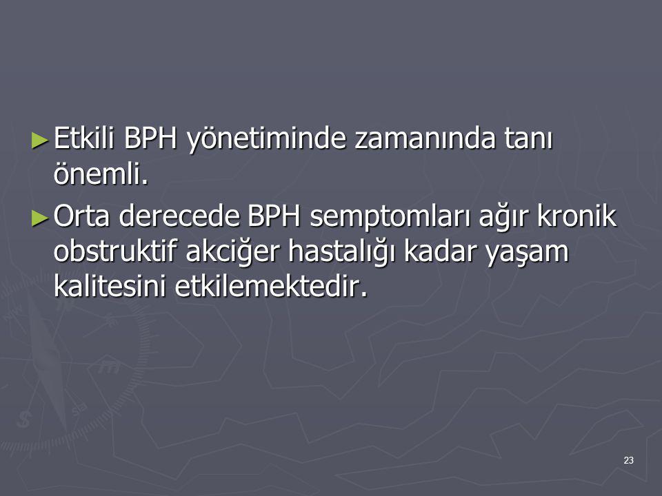 23 ► Etkili BPH yönetiminde zamanında tanı önemli. ► Orta derecede BPH semptomları ağır kronik obstruktif akciğer hastalığı kadar yaşam kalitesini etk