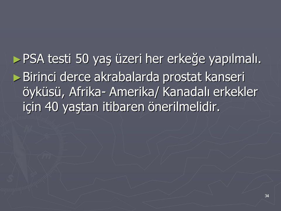 34 ► PSA testi 50 yaş üzeri her erkeğe yapılmalı. ► Birinci derce akrabalarda prostat kanseri öyküsü, Afrika- Amerika/ Kanadalı erkekler için 40 yaşta