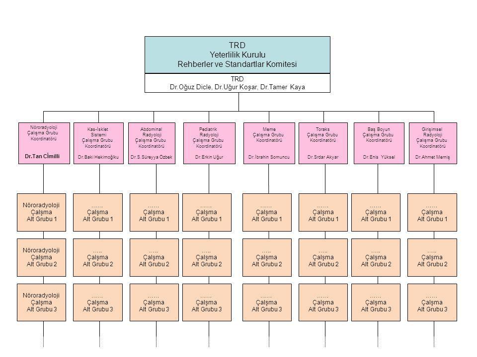 TRD Yeterlilik Kurulu Rehberler ve Standartlar Komitesi Nöroradyoloji Çalışma Grubu Koordinatörü Dr.Tan Cİmilli Kas-İsklet Sistemi Çalışma Grubu Koordinatörü Dr.Baki Hekimoğlku Abdominal Radyoloji Çalışma Grubu Koordinatörü Dr.S.Süreyya Özbek Pediatrik Radyoloji Çalışma Grubu Koordinatörü Dr.Erkin Uğur Meme Çalışma Grubu Koordinatörü Dr.İbrahin Somuncu Toraks Çalışma Grubu Koordinatörü Dr.Srdar Akyar Baş Boyun Çalışma Grubu Koordinatörü Dr.Enis Yüksel Girişimsel Radyoloji Çalışma Grubu Koordinatörü Dr.Ahmet Memiş TRD Dr.Oğuz Dicle, Dr.Uğur Koşar, Dr.Tamer Kaya Nöroradyoloji Çalşma Alt Grubu 1 Nöroradyoloji Çalşma Alt Grubu 2 Nöroradyoloji Çalşma Alt Grubu 3 …… Çalşma Alt Grubu 1 …..