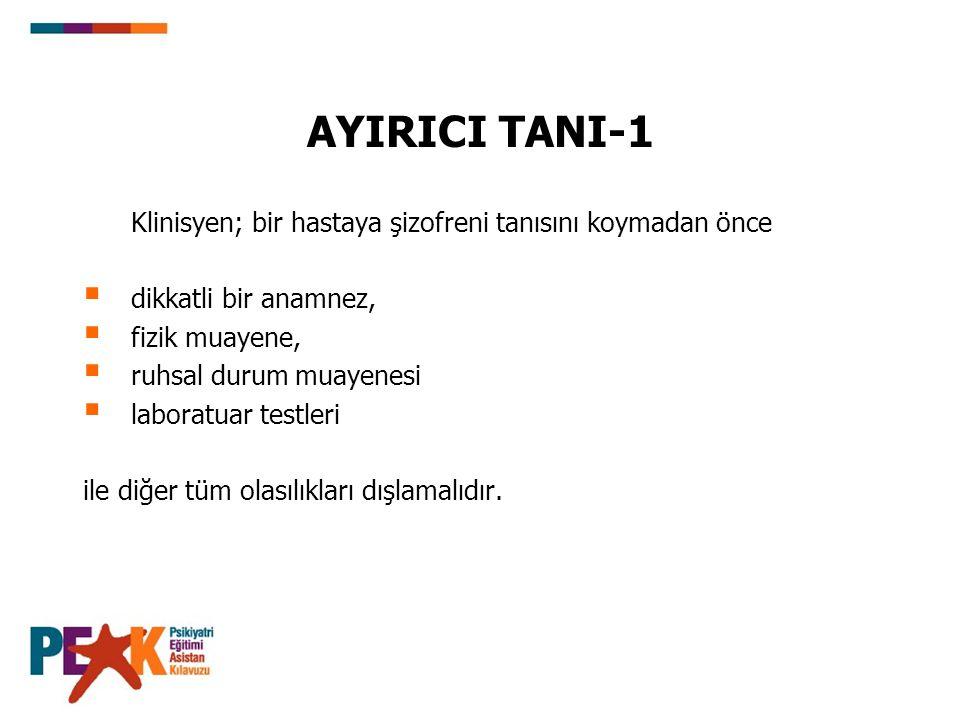 AYIRICI TANI-1 Klinisyen; bir hastaya şizofreni tanısını koymadan önce  dikkatli bir anamnez,  fizik muayene,  ruhsal durum muayenesi  laboratuar testleri ile diğer tüm olasılıkları dışlamalıdır.