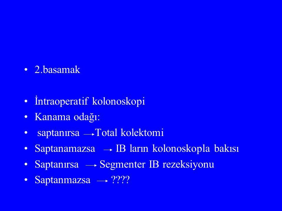 2.basamak İntraoperatif kolonoskopi Kanama odağı: saptanırsa Total kolektomi Saptanamazsa IB ların kolonoskopla bakısı Saptanırsa Segmenter IB rezeksiyonu Saptanmazsa ????
