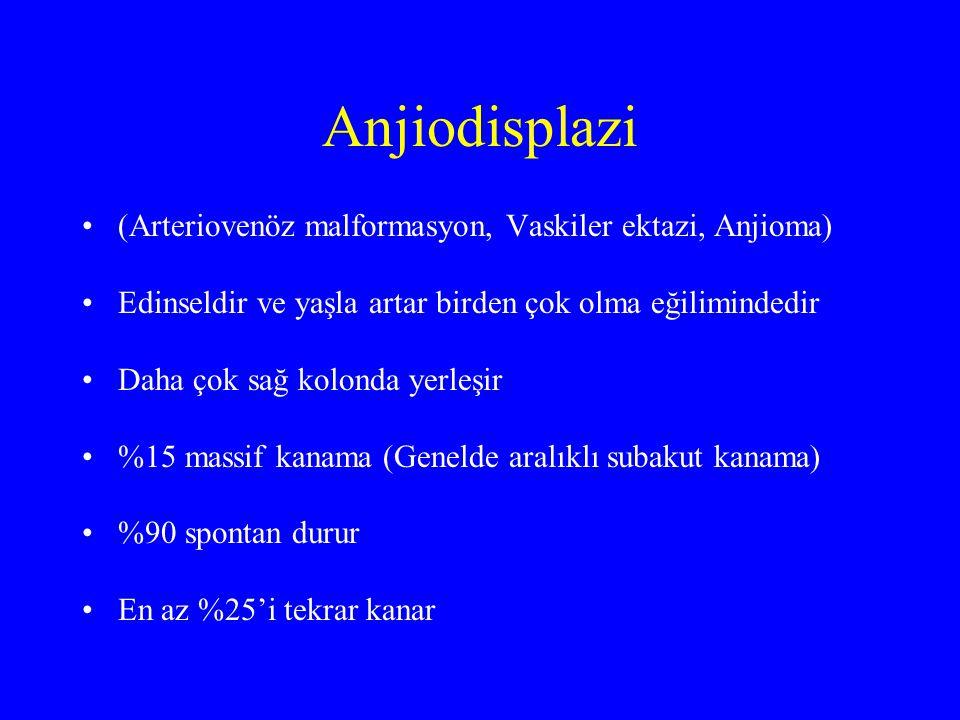 Nadir Massif kanamaya neden olanlar IBD Neoplazm İskemik kolit Anorektal hastalıklar