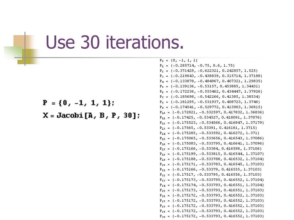 Use 30 iterations.