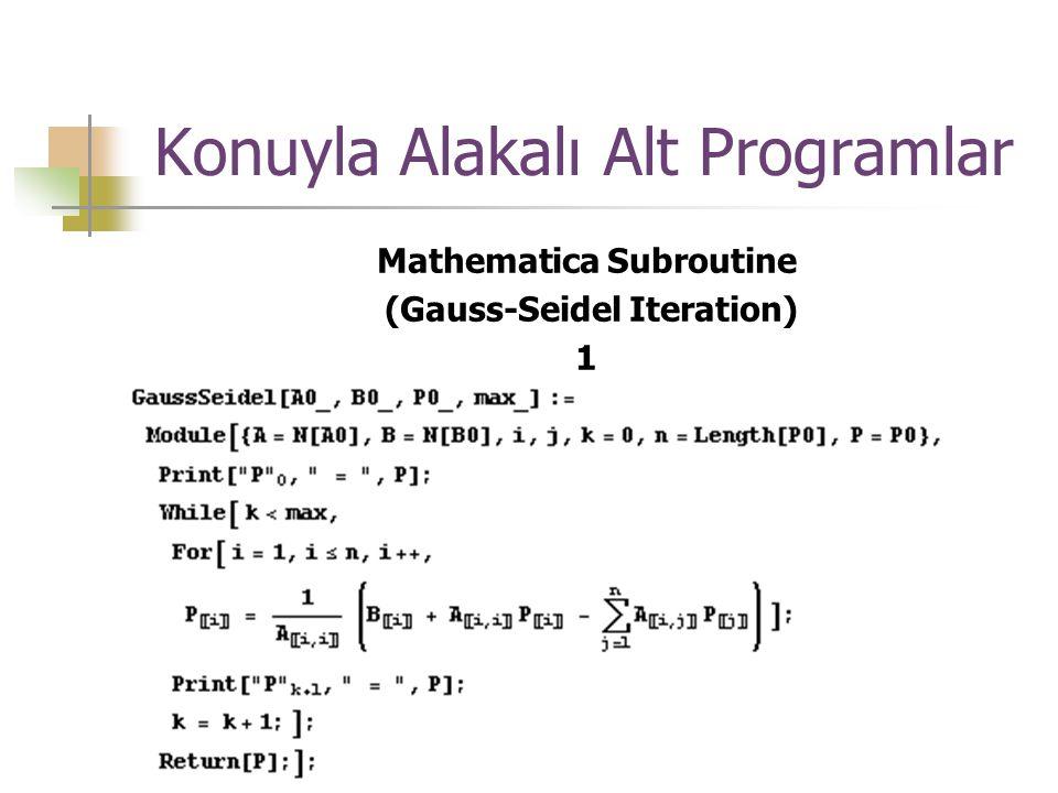 Konuyla Alakalı Alt Programlar Mathematica Subroutine (Gauss-Seidel Iteration) 1