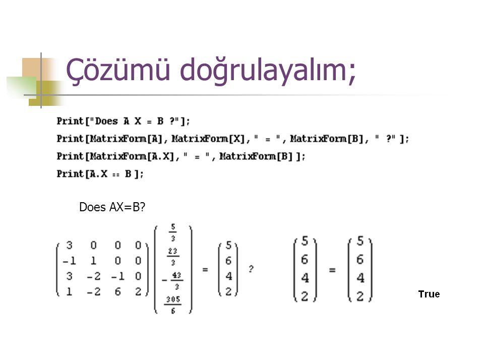 Çözümü doğrulayalım; Does AX=B?