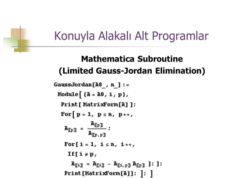 Konuyla Alakalı Alt Programlar Mathematica Subroutine (Limited Gauss-Jordan Elimination)