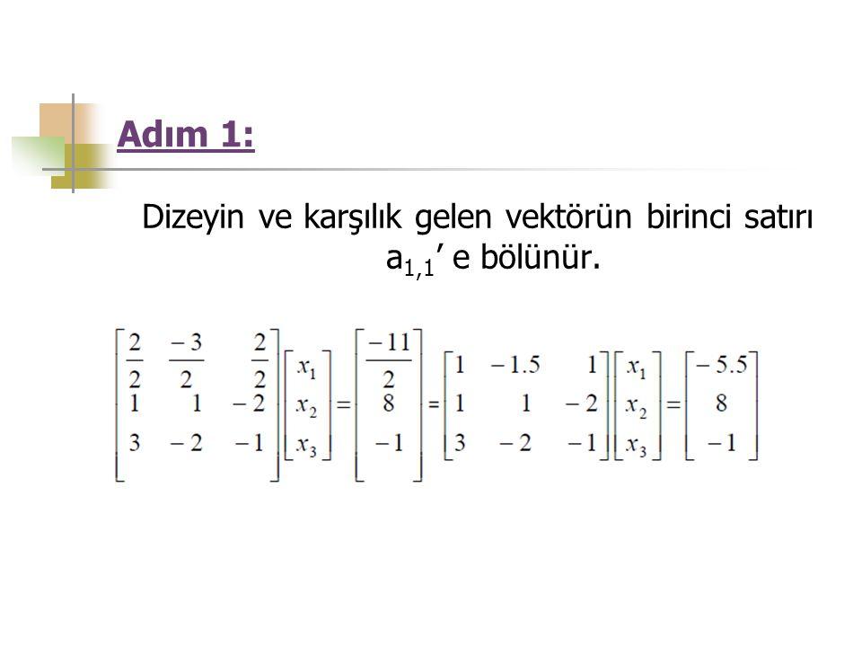Adım 1: Dizeyin ve karşılık gelen vektörün birinci satırı a 1,1 ' e bölünür.