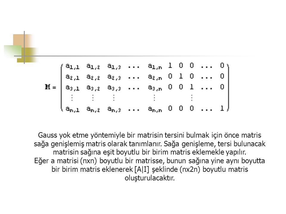 Gauss yok etme yöntemiyle bir matrisin tersini bulmak için önce matris sağa genişlemiş matris olarak tanımlanır. Sağa genişleme, tersi bulunacak matri