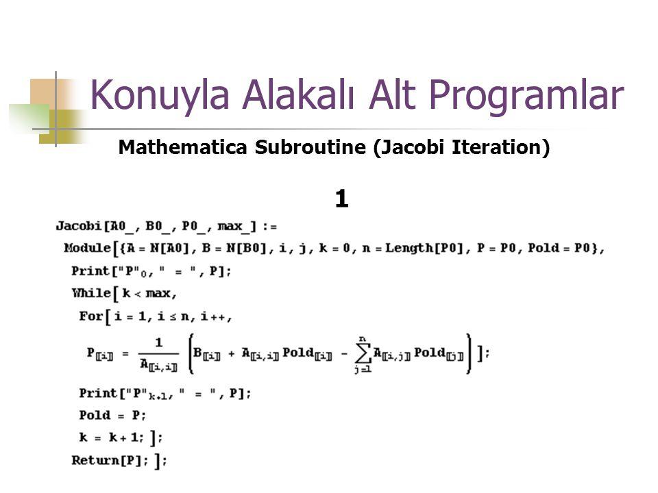 Konuyla Alakalı Alt Programlar Mathematica Subroutine (Jacobi Iteration) 1