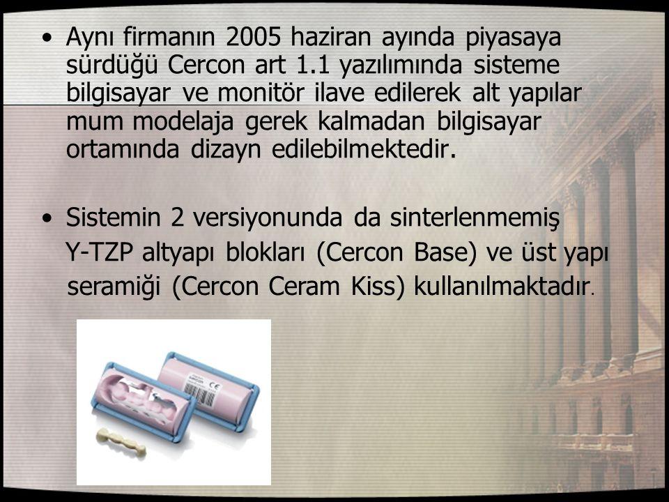 Aynı firmanın 2005 haziran ayında piyasaya sürdüğü Cercon art 1.1 yazılımında sisteme bilgisayar ve monitör ilave edilerek alt yapılar mum modelaja ge