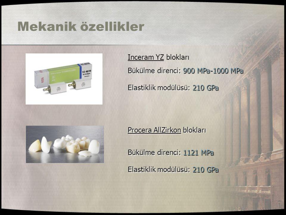 Mekanik özellikler Inceram YZ blokları Bükülme direnci: 900 MPa-1000 MPa Elastiklik modülüsü: 210 GPa Bükülme direnci: 1121 MPa Elastiklik modülüsü: 2