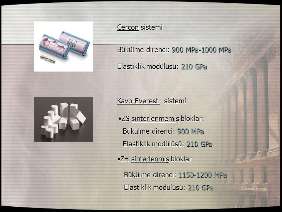 Cercon sistemi Bükülme direnci: 900 MPa-1000 MPa Elastiklik modülüsü: 210 GPa Kavo-Everest sistemi ZS sinterlenmemiş bloklar:ZS sinterlenmemiş bloklar