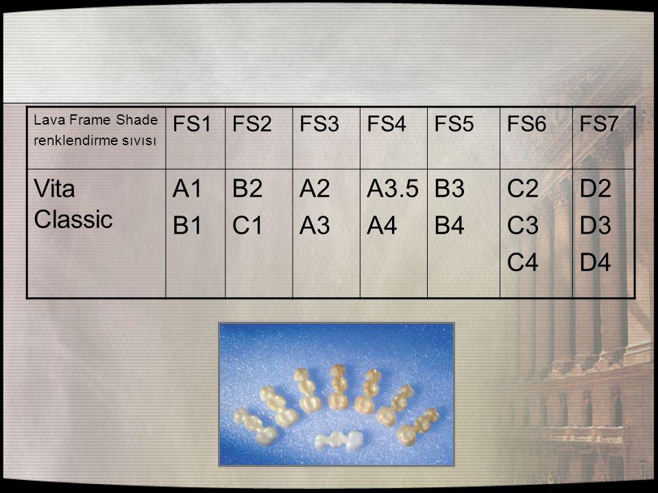 Lava Frame Shade renklendirme sıvısı FS1FS2FS3FS4FS5FS6FS7 Vita Classic A1 B1 B2 C1 A2 A3 A3.5 A4 B3 B4 C2 C3 C4 D2 D3 D4