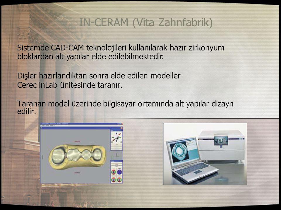 IN-CERAM (Vita Zahnfabrik) Sistemde CAD-CAM teknolojileri kullanılarak hazır zirkonyum Dişler hazırlandıktan sonra elde edilen modeller Cerec inLab ün