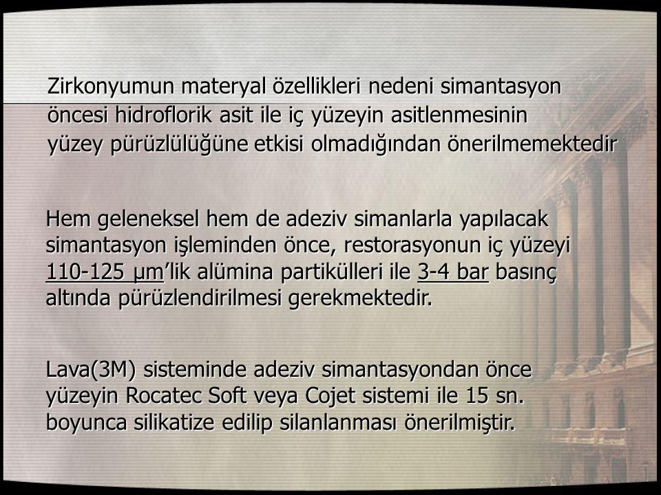 Zirkonyumun materyal özellikleri nedeni simantasyon Zirkonyumun materyal özellikleri nedeni simantasyon öncesi hidroflorik asit ile iç yüzeyin asitlen