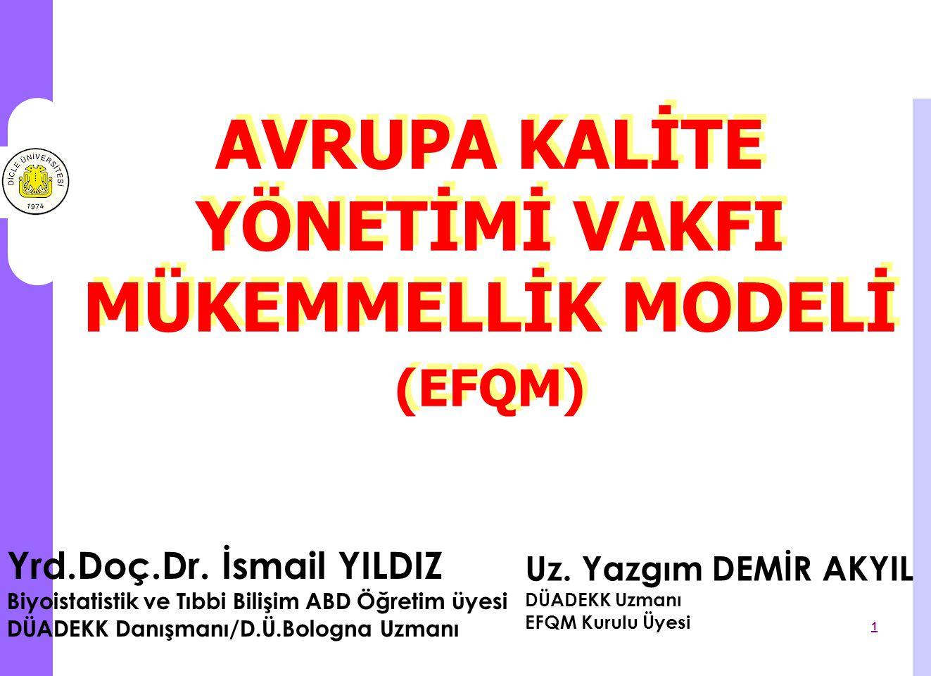 EFQM Mükemmellik Modeli 2 EFQM Mükemmellik Modeli, Avrupa Kalite Yönetimi Vakfı (EFQM) tarafından geliştirilen, Yönetim Sistemini Geliştirme Aracıdır