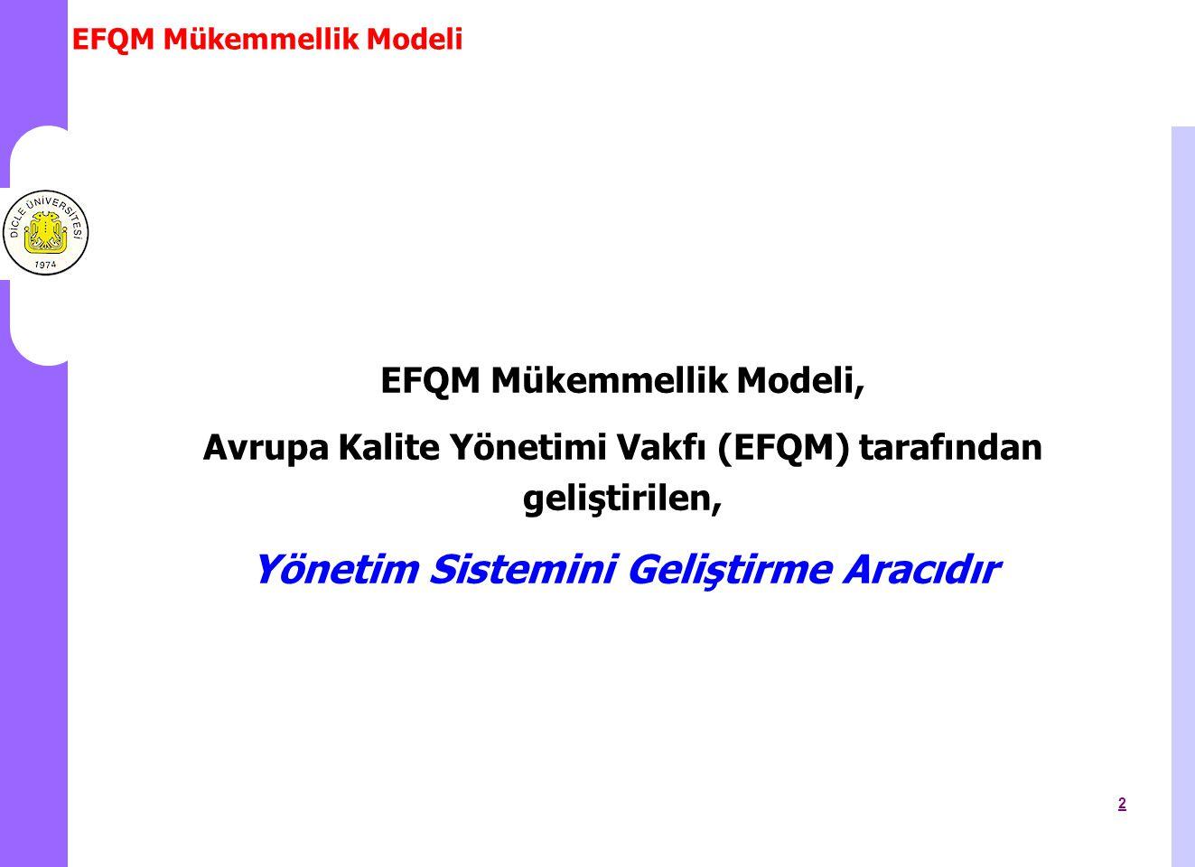 EFQM Mükemmellik Modeli 3 EFQM Mükemmellik Modeli, kuruluşların mükemmellik yolunda ilerleyip ilerlemediklerini ölçerek, kuvvetli yönlerini ve iyileştirmeye açık alanlarını görmelerini sağlayan, uygun çözümler bulmalarında rehberlik eden, bir özdeğerlendirme aracıdır.